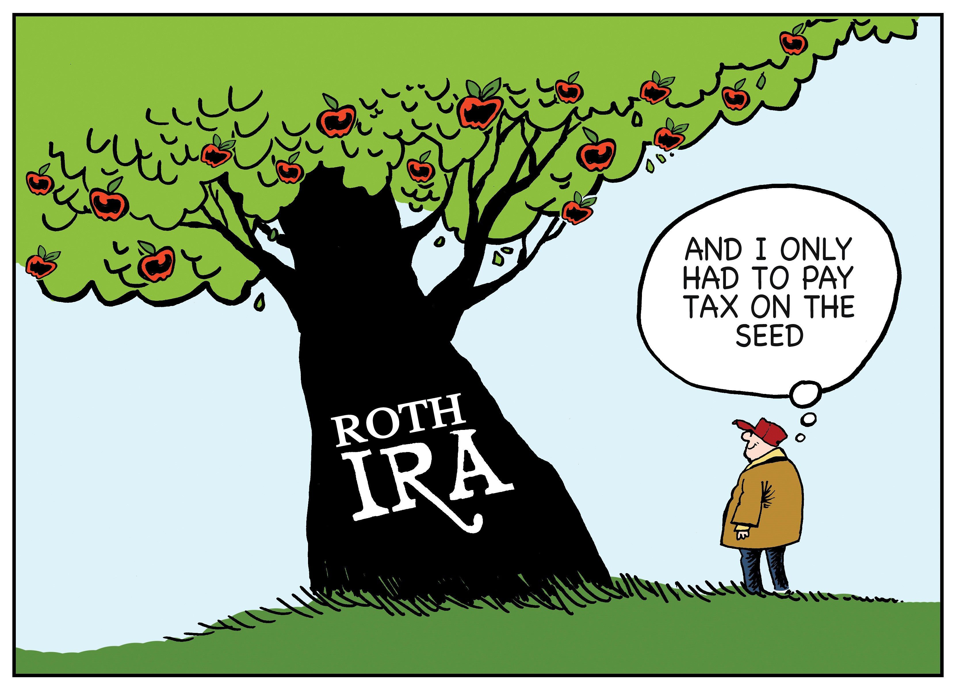 Colorized Roth IRA Cartoon • Pay Taxes Later